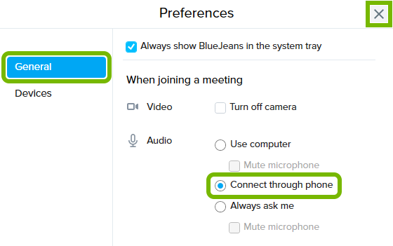 General tab, Connect through phone option and X button highlighted in BlueJeans Preferences window.