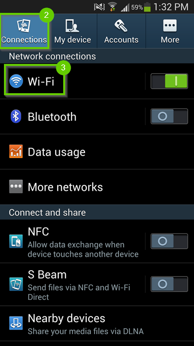 Android settings with connections highlighted.