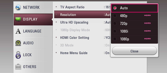 resolution menu with box showing different resolutions that are available