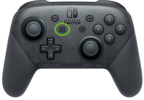 Nintendo switch pro controller with screenshot button in the middle highlighted