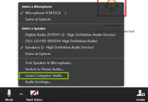 Leave computer audio menu