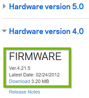 Example hardware version with available Firmware download. Screenshot.