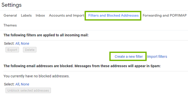 Gmail email filters