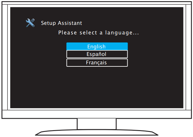 Denon receiver on-screen setup assistant prompting the user to select a language.