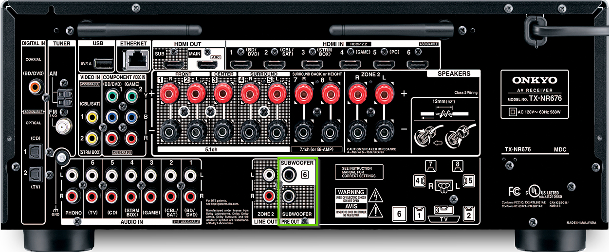 The back of an onkyo receiver showing the subwoofer connection
