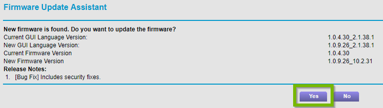 Firmware install prompt with Yes selected. Screenshot.