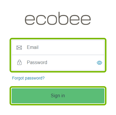 Email and Password fields, and Sign in button highlighted on ecobee login web page.