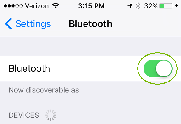 Bluetooth menu with slider on. Screenshot