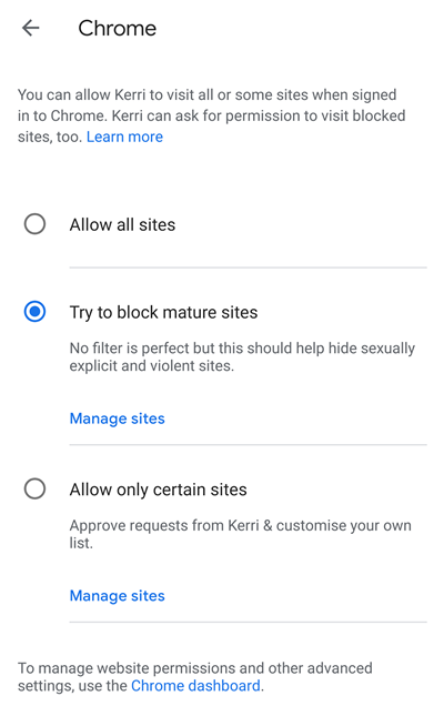 try to block mature sites
