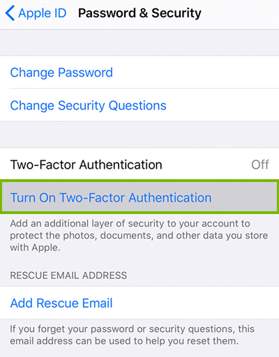 Turning on two factor authentication