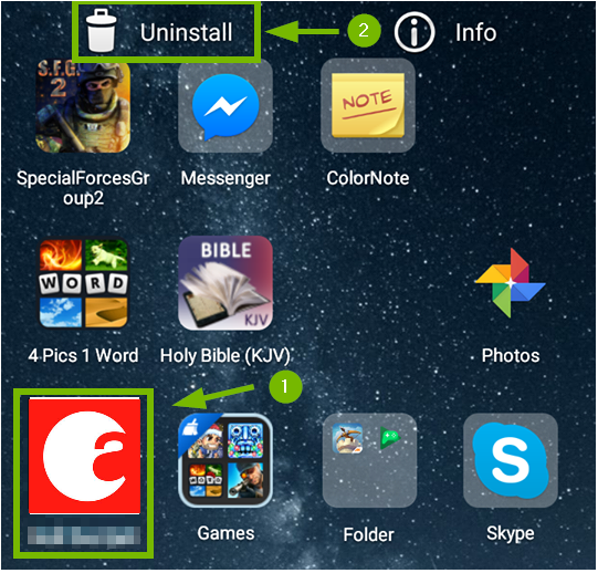 Android page with august app selected and uninstall tapped