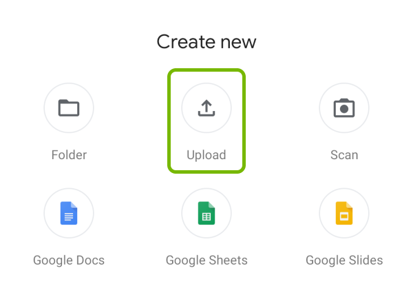 Upload option highlighted in Google Drive app on Android.