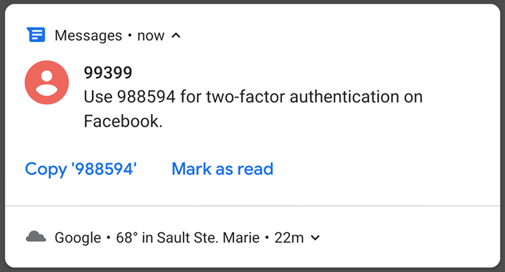 Use 988594 for two-factor authentication on facebook