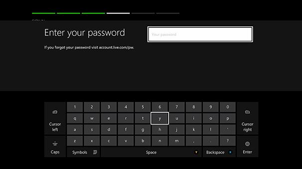 Xbox live password field.
