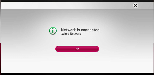 screen showing network is connected and OK button