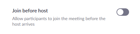 Join before meeting setting disabled
