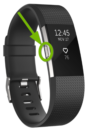 Fitbit Charge with button highlighted.