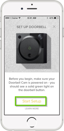 August home app set up doorbell screen highlighting the start setup button.