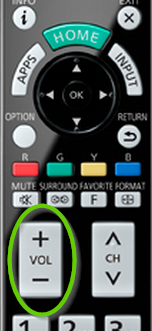 Volume controls on TV remote.