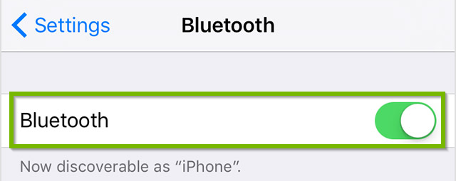 iOS Bluetooth screen with Bluetooth radio switch in the On position. Screenshot.