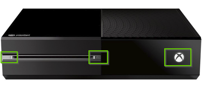 Front of an Xbox one console with the bind, eject, and power buttons highlighted.