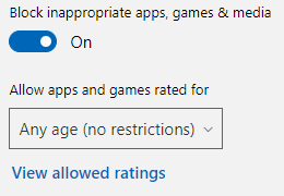 Block inappropriate  apps, games, and media toggle