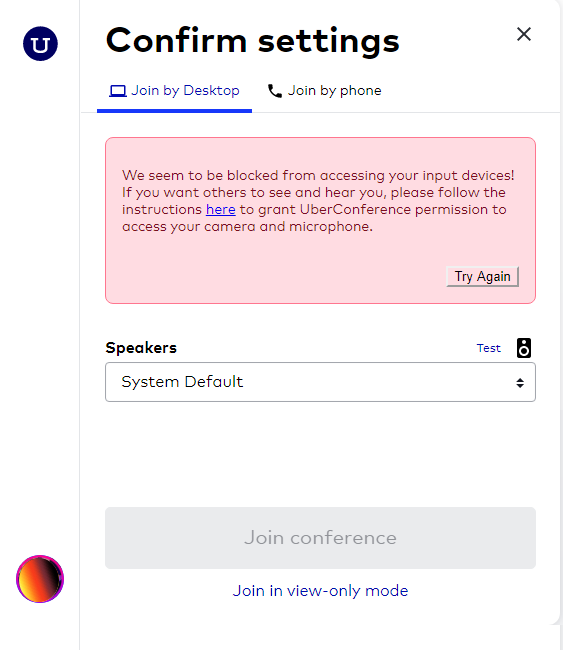 Blocked inputs by uberconference