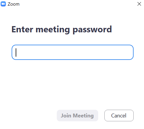Entering meeting password