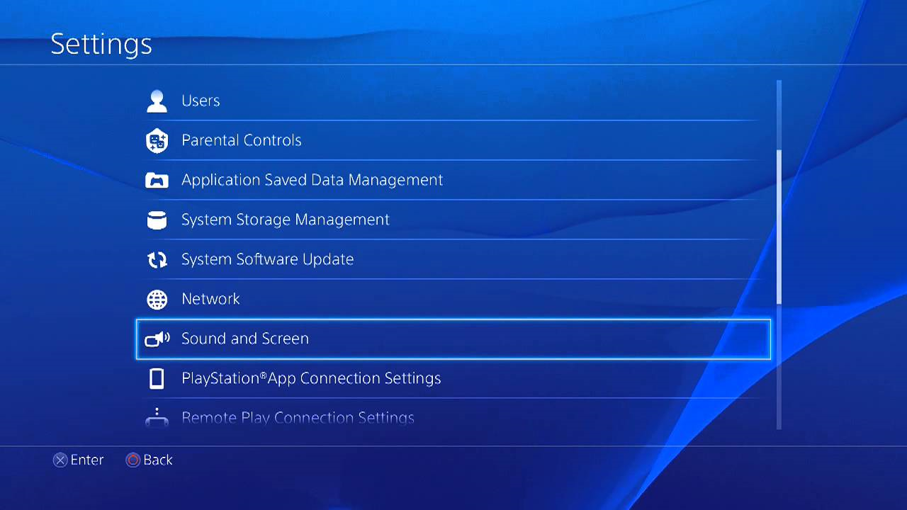 PS4 settings screen showing sound and screen highlighted