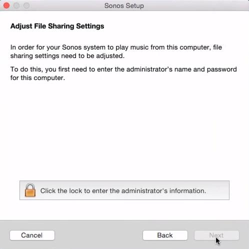 File sharing adjustment in Sonos Setup on Mac