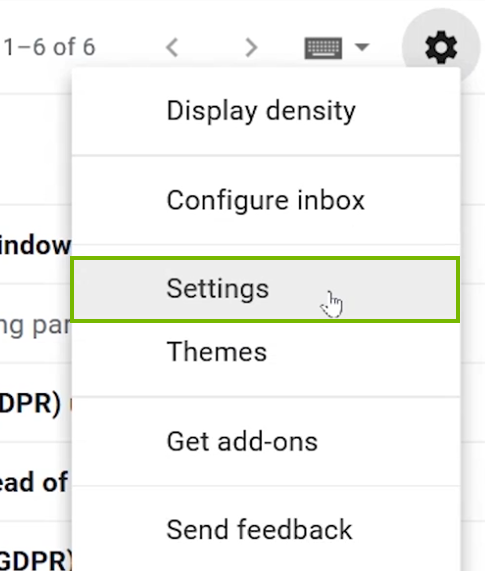 The settings menu