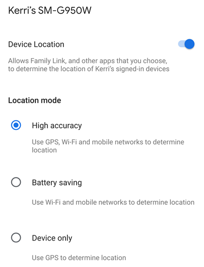 device location modes
