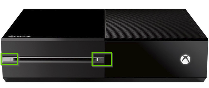 Front of an xbox one console with the bind and eject buttons highlighted.