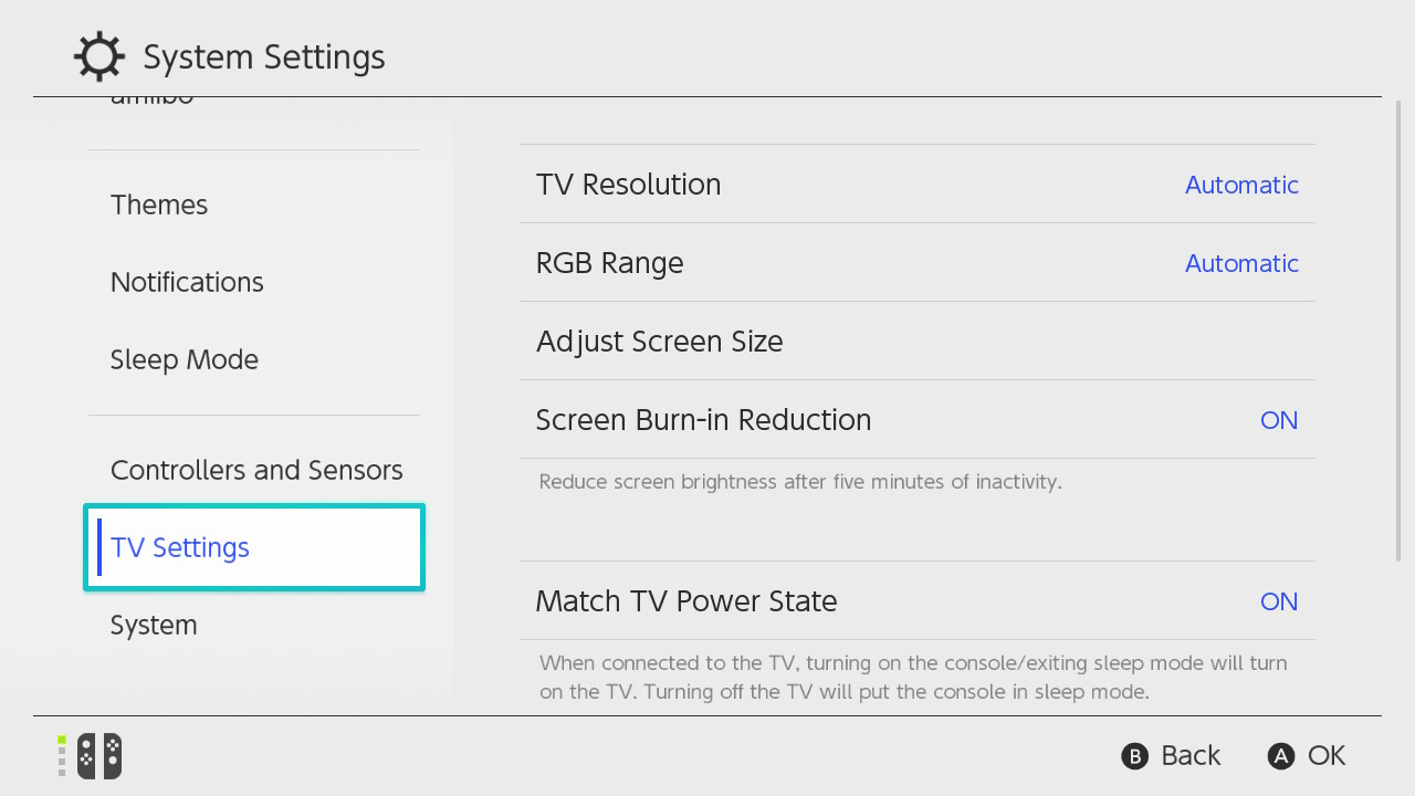 Nintendo Switch system settings menu with TV Settings highlighted