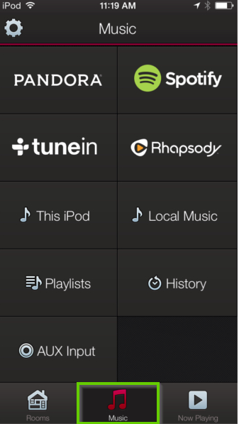 HEOS app highlighting the music tab icon.