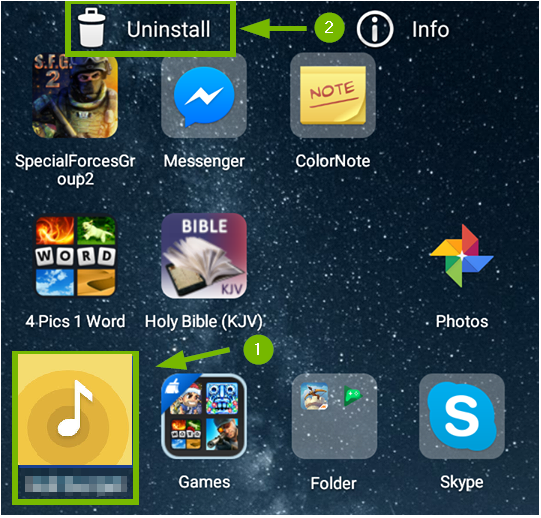 Android screen showing the sony music center icon and the uninstall trashbin.