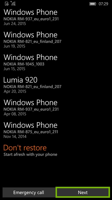 Restore selection screen with list of devices to restore from. Screenshot.