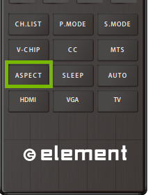 Element TV Remote with Aspect highlighted.