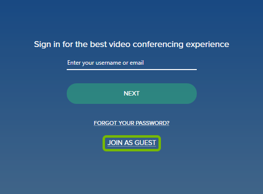 Join as Guest option highlighted on Sign In screen during first launch of BlueJeans app.