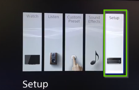 A menu showing setup