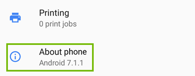 Android about phone selection