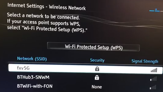 Wireless network setup page showing network names