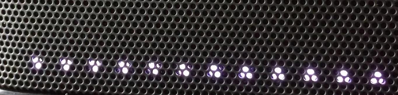Soundbar LEDs flashing.