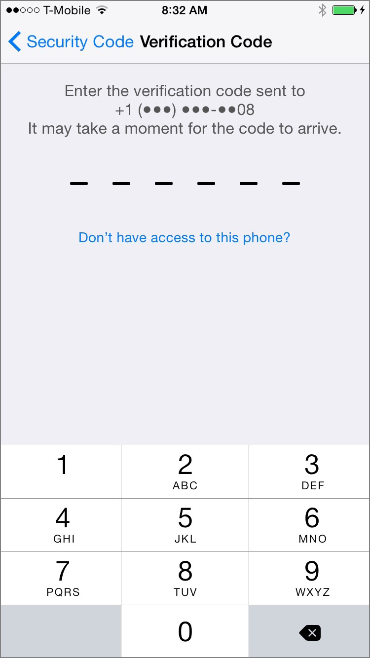 Six-Digit Verification Code. Screenshot.