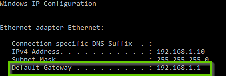 A windows 10 command prompt showing the ipconfig command and default gateway highlighted.