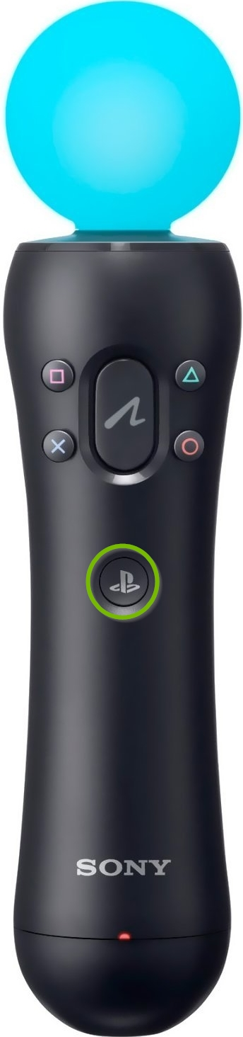PS move controller with PS button highlighted.