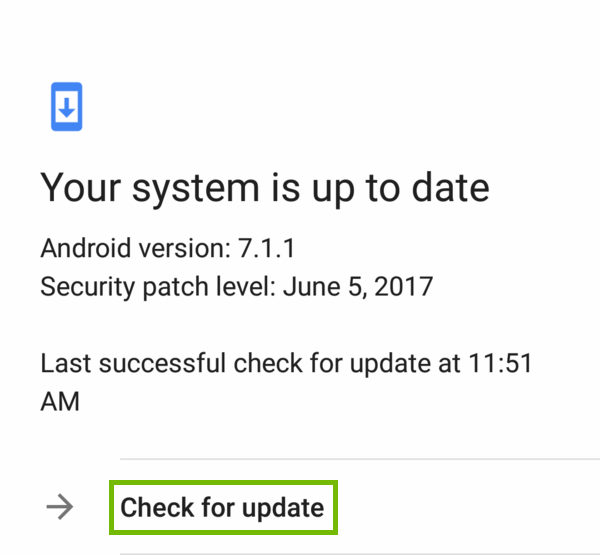 Updates with Check for update highlighted.