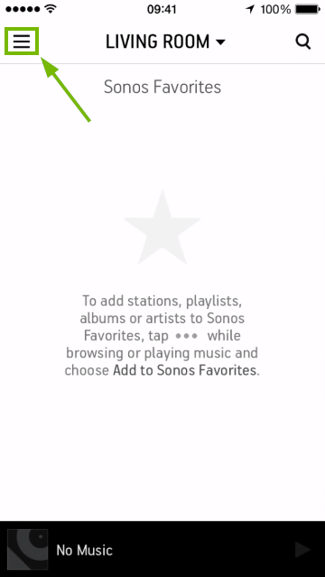 Placement of menu symbol in Sonos Controller for mobile devices