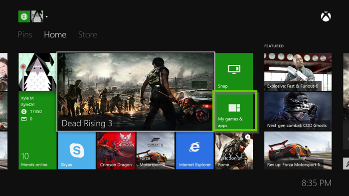 Xbox one home page showing my games and apps highlighted.