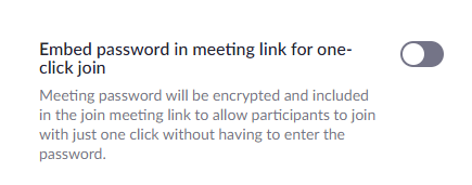 Embed password in meeting link for one click join